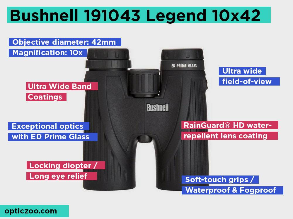 Bushnell 191043 Legend 10x42 Review, Pros and Cons.