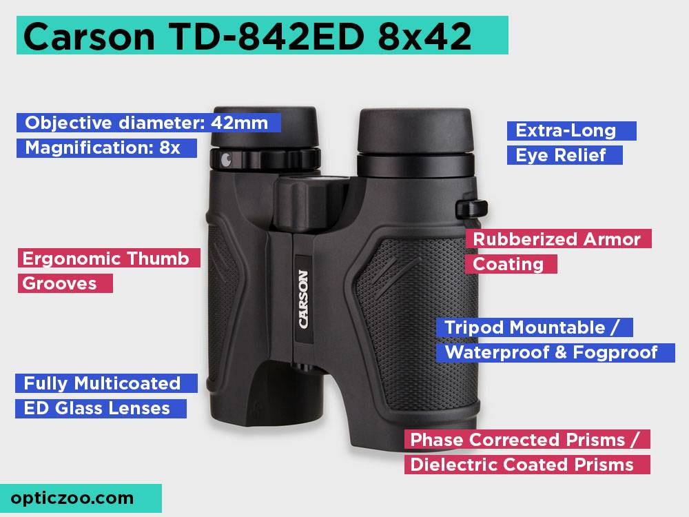 Carson TD-842ED 8x42 Review, Pros and Cons.