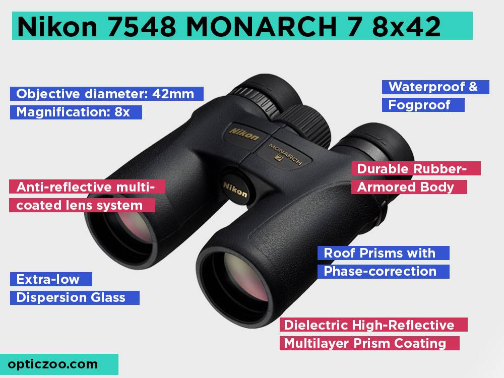 Nikon 7548 MONARCH 7 8x42 Review, Pros and Cons.