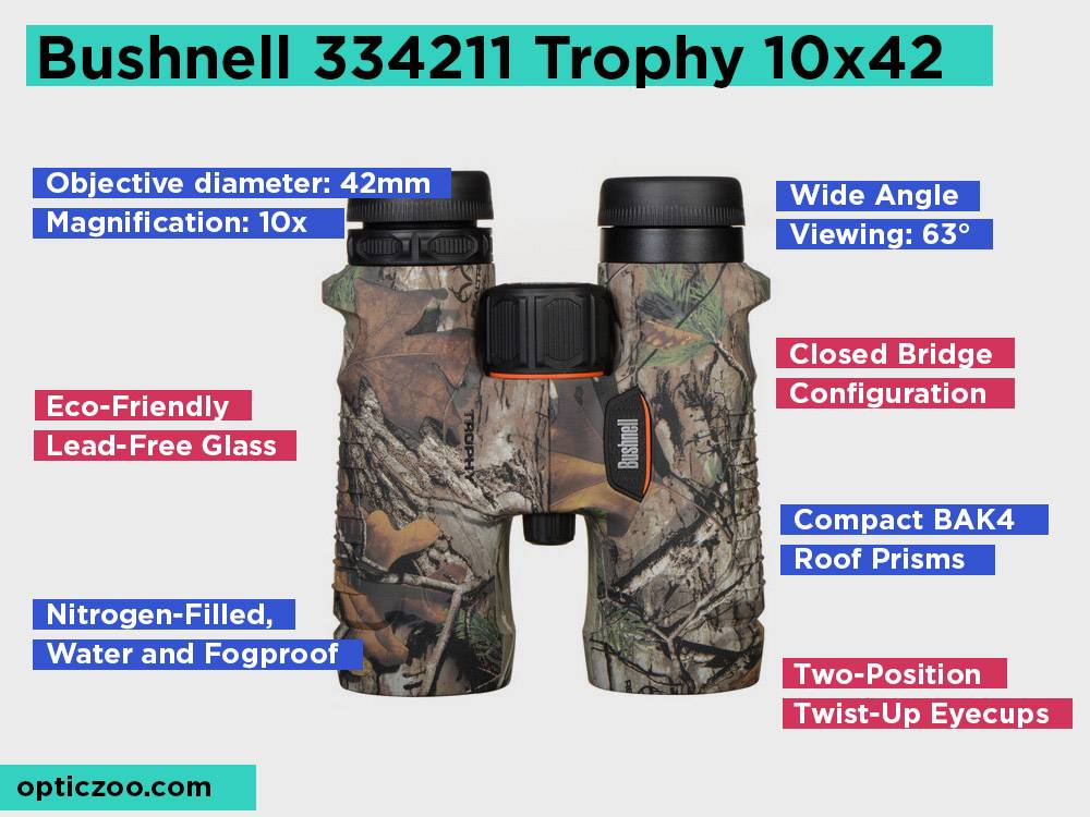 Bushnell 334211 Trophy 10x42 Review, Pros and Cons. Check our Best Pick for Clear Viewing on a Budget 2018
