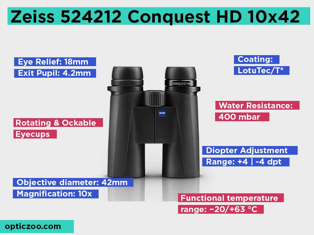 Zeiss 524212 Conquest HD 10x42 Review, Pros and Cons. Check our Best For Bird Watching 2018