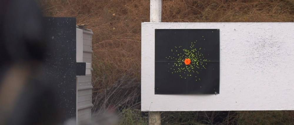 The pattern is measured by the number pellets on the surface of the target at a particular distance