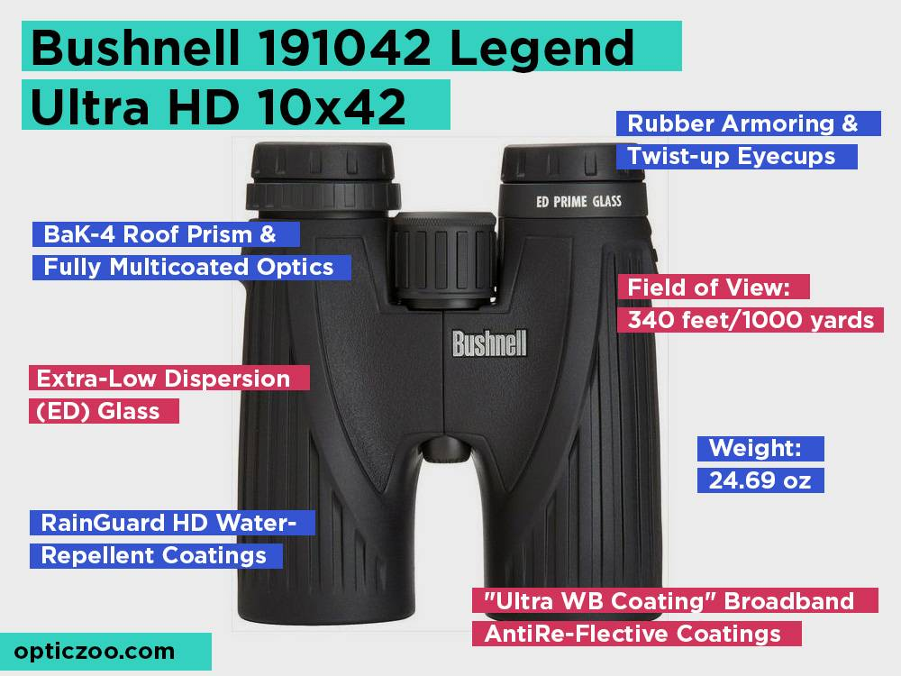 Bushnell 191042 Legend Ultra HD 10x42 Review, Pros and Cons