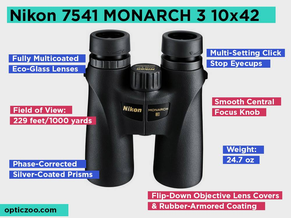 Nikon 7541 MONARCH 3 10x42 Review, Pros and Cons
