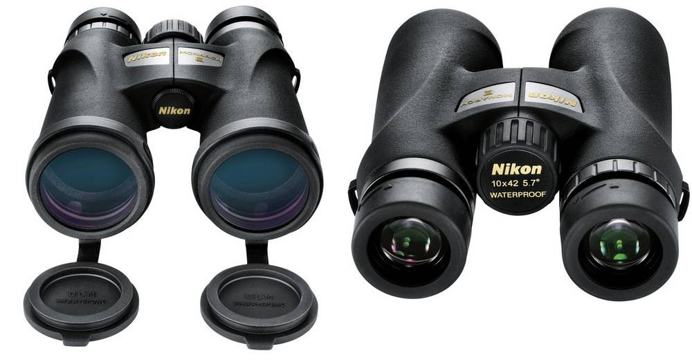 Nikon 7541 Monarch 3 10x42 has the flip-down objective lens covers and rubber-armored coating