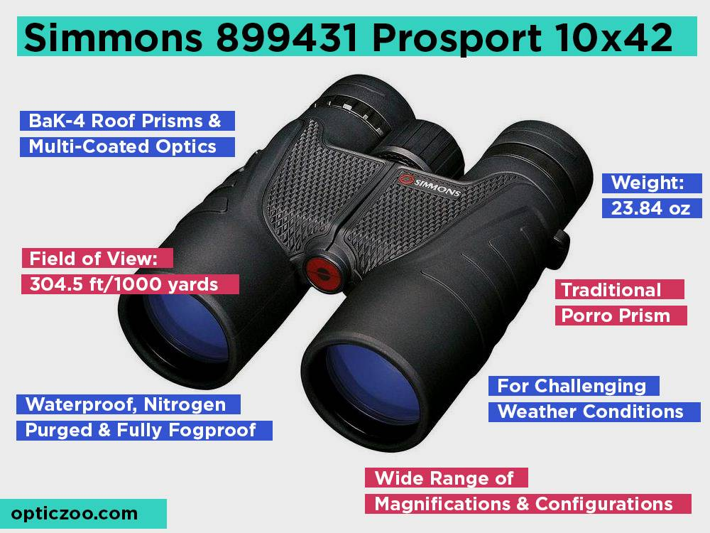 Simmons 899431 Prosport 10x42 Review, Pros and Cons
