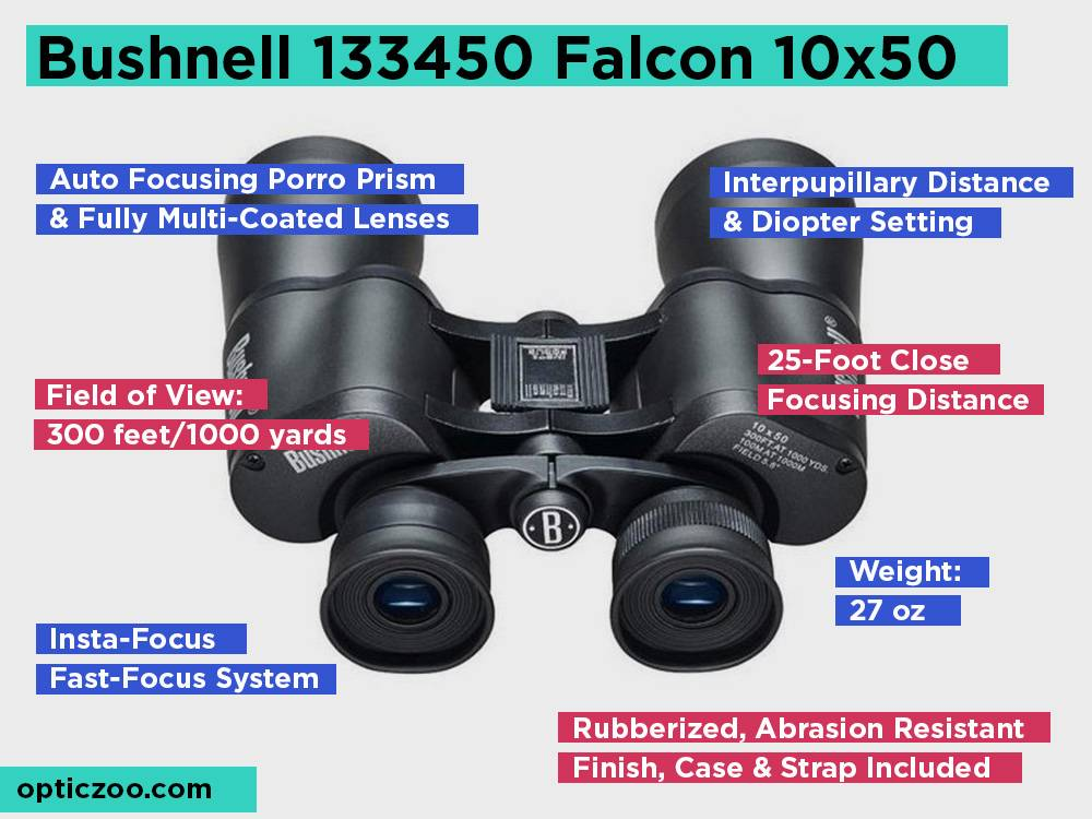 Bushnell 133450 Falcon 10x50 Review, Pros and Cons