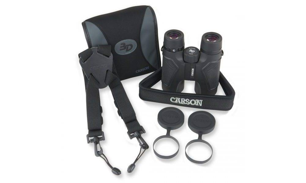 Carson TD-842ED 3D Series HD 8x42 has carry case, neck strap, shoulder harness, and lens cloth